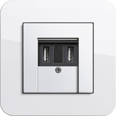 Розетка с USB портом для питания, 2-местная